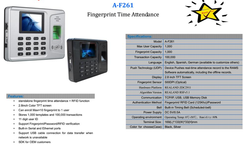 Biometrics Fingerprint Time Attendance Device...Accurately monitor your staff punctuality to work. (Clock-in/Exit Timer)